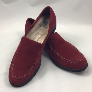 Hush Puppies red suede loafers